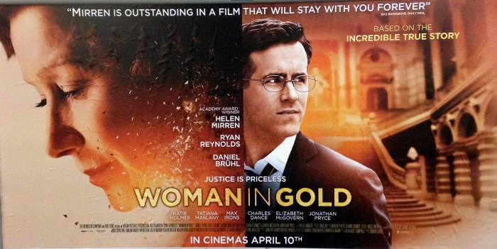 woman in gold banner
